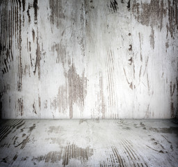 Old wooden vintage damaged white boards room background