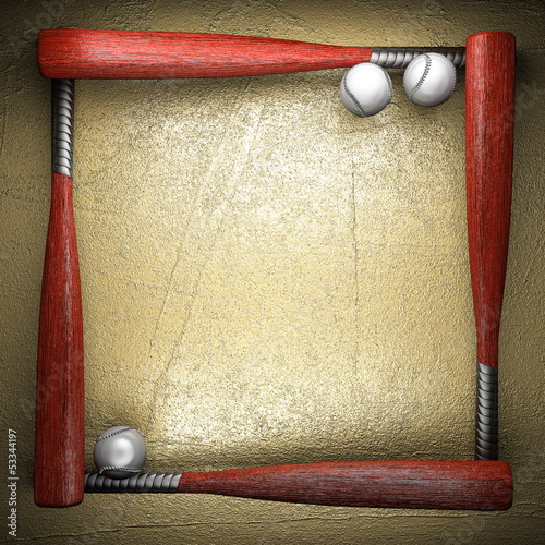 Baseball and golden wall background