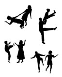 swing dancers in silhouette set