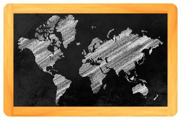 Weltkarte auf einer Tafel
