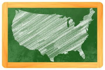 USA auf einer Tafel