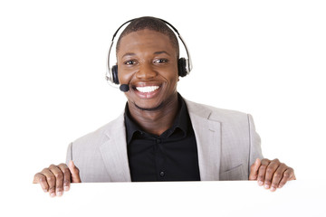 Successful call center worker with blank board