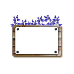 Wooden notice board with flowers