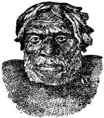Head of Neanderthal man (Homo sapiens neanderthalensis)