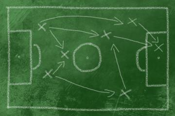 Fußball Taktik Kreide auf Tafel