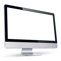Computer monitor display with blank white screen.