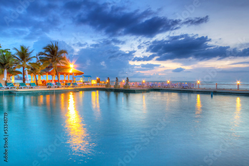 Poster Egypte Sunset at swimming pool in Thailand