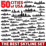 Fototapety The Best vector city skyline silhouettes set