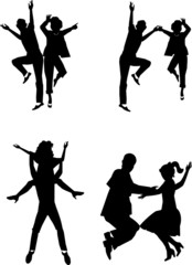 retro dancing the night away in silhouette