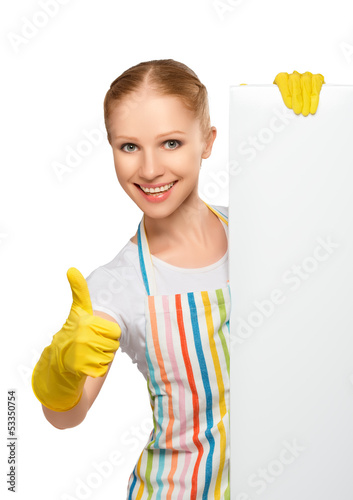 happy  housewife with thumbs up with white empty billboard isola