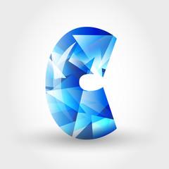 blue crystalline letter C