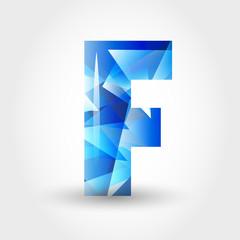 blue crystalline letter F