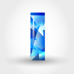 blue crystalline letter I