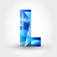 blue crystalline letter L