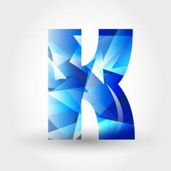 blue crystalline letter K