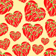 Red Hot Peppers Heart Seamless Pattern