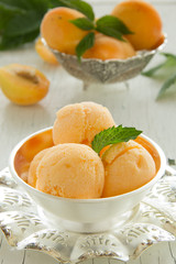 Homemade apricot ice cream.
