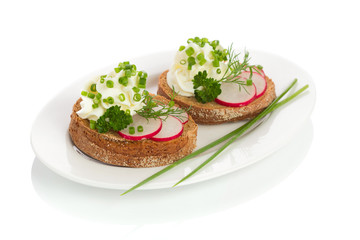 spring appetizer with cream cheese, radish and chives