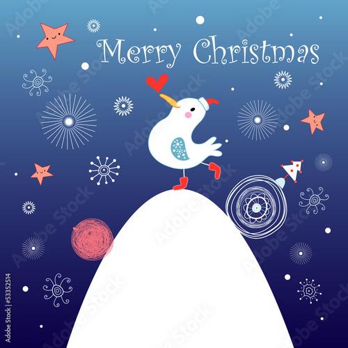 Christmas greeting card with bird