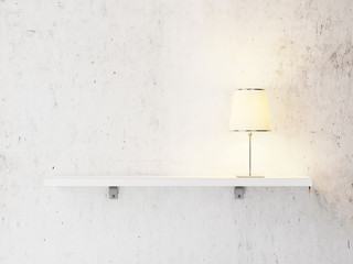 shelf with lamp