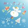 card with a flying snowman
