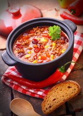 Pot of hot and spicy Mexican chili