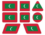 set of buttons with flag of Maldives