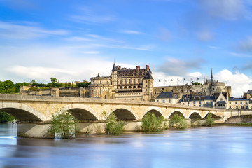 Amboise, village, bridge and castle. Loire Valley, France