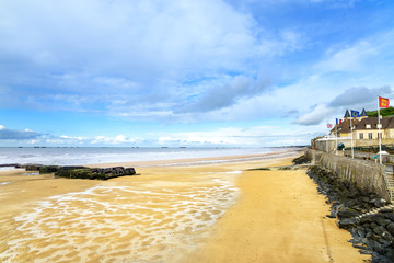 Arromanches, Normandy, France. Beach and artificial harbor