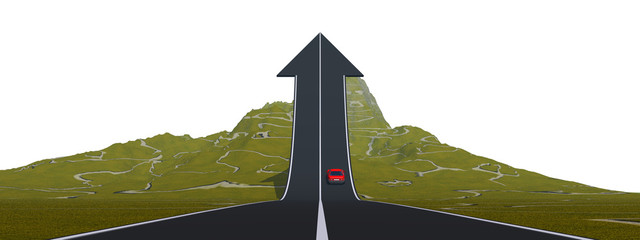 Conceptual road arrow pointing up