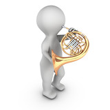 A 3D character playing french horn corniste