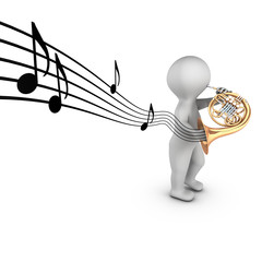 A 3D character playing french horn with notes on a partition.