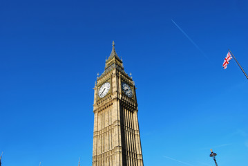 Tower of Big Ben, Lamppost and British Flag
