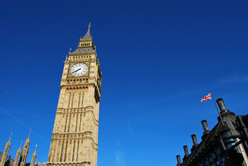 Tower of Big Ben, Westminster Station and British Flag
