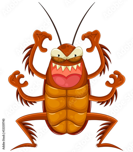 scary cartoon cockroach