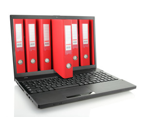 Laptop with red ring binders