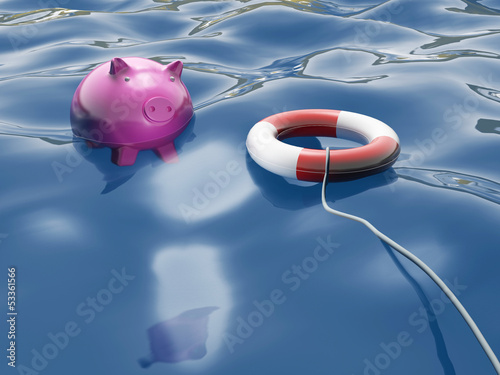 Piggy With Lifebuoy Shows Lifesaver And Investment