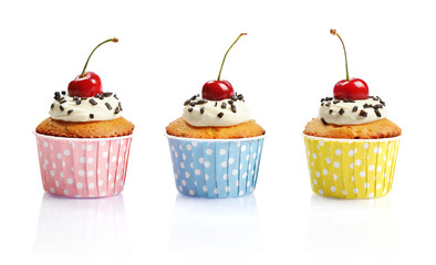 Cupcakes  with fresh cherry