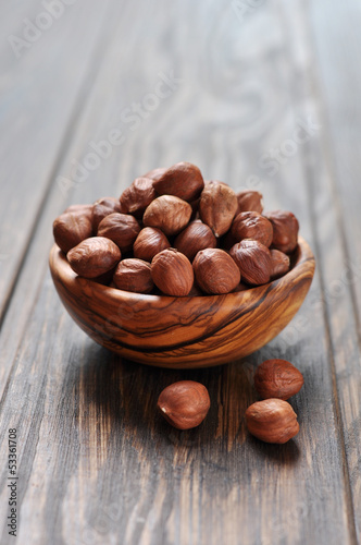 Hazelnut in a wooden bowl