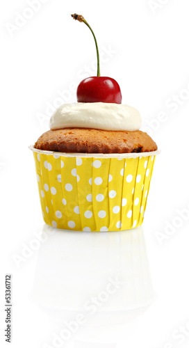 Cupcake  with fresh cherry