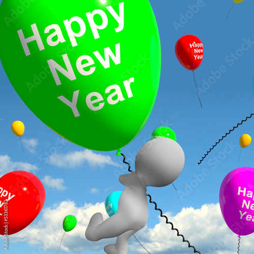 Balloons In The Sky Saying Happy New Year