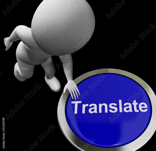 Translate Button Shows Online International Multilingual Transla