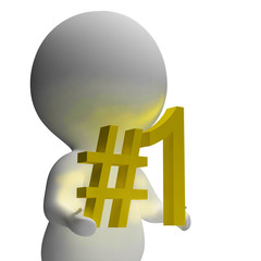 Number One 3d Character Shows First Place