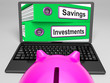 Savings And Investments Files On Laptop Showing Finances
