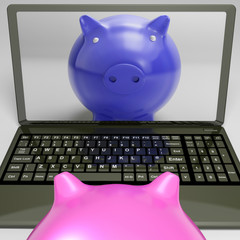 Piggy On Screen Shows Internet Investment Savings