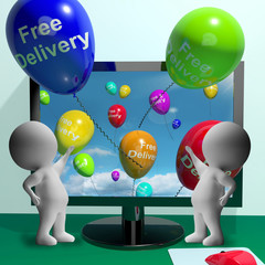 Free Delivery Balloons From Computer Showing No Charge To Delive