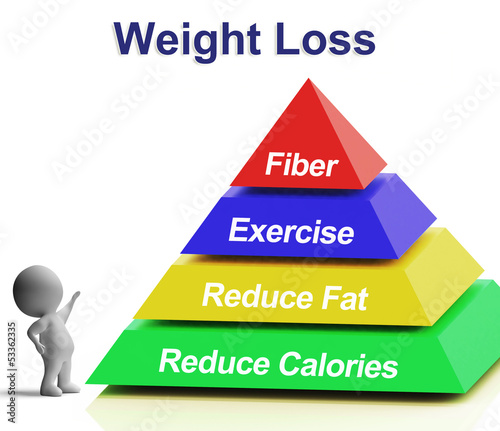 Weight Loss Pyramid Showing Fiber Exercise Fat And Reducing Calo
