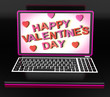 Happy Valentine's Day On Laptop Showing Celebrating Love