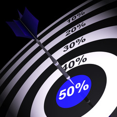 50Percent On Dartboard Showing Money Savings