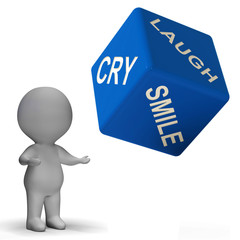 Laugh Cry Smile Dice Represents Different Emotions